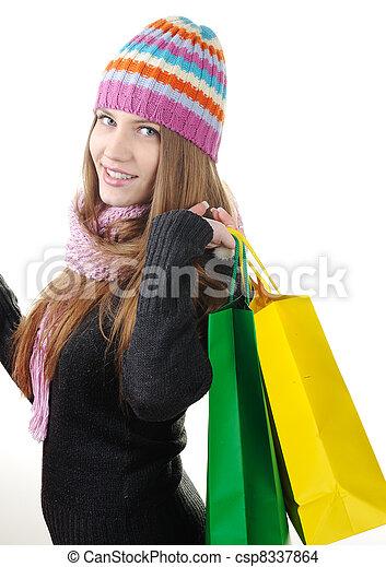 mooi, zakken, meisje, shoppen , winter - csp8337864