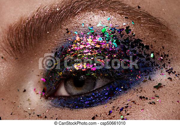 Ongekend Mooie ogen, oog, makeup., make-up., schitteren. Mooie ogen, oog OQ-84