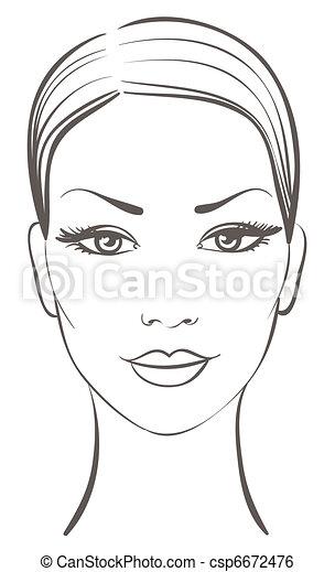 mooie vrouw, gezicht - csp6672476