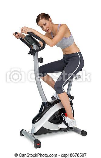 mooie vrouw, jonge, fiets, stationair, zijaanzicht - csp18678507