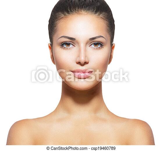 mooie vrouw, jonge, gezicht, schoonmaken, huid, fris - csp19460789