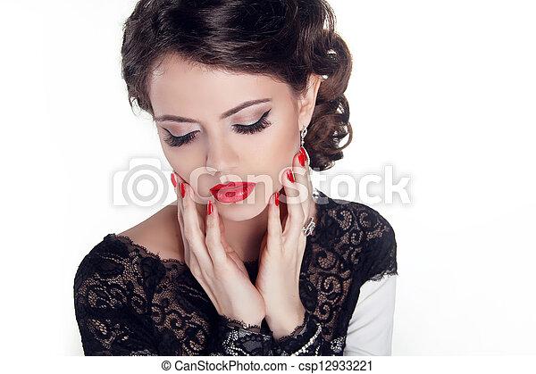 mooie vrouw, juwelen, beauty., avond, make-up., mode - csp12933221