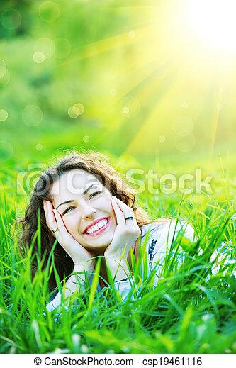 mooie vrouw, natuur, lente, jonge, buitenshuis, het genieten van - csp19461116