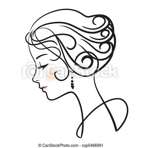 mooie vrouw, vector, illustratie, gezicht - csp5466991