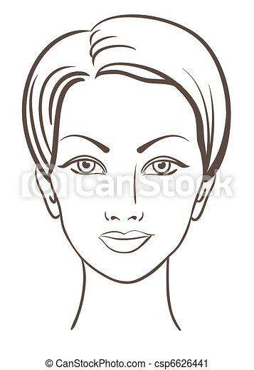 mooie vrouw, vector, illustratie, gezicht - csp6626441