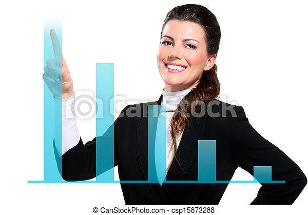 mooie vrouw, zakelijk, het tonen, jonge, diagrammen, digitale , vrolijke  - csp15873288