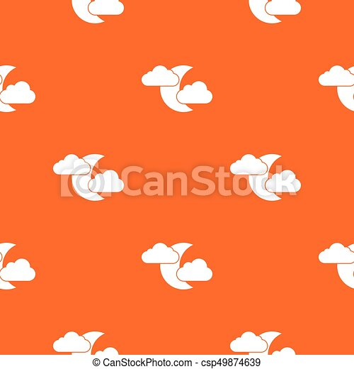 Moon and clouds pattern seamless - csp49874639