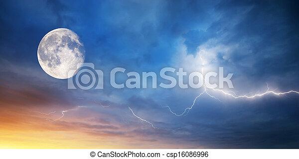 Moon and lightning - csp16086996