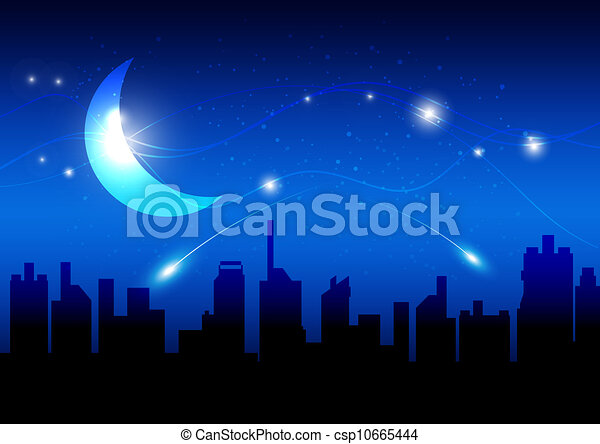 moon and night of city - csp10665444