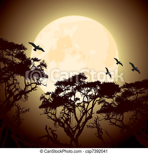 moon and silhouettes of tree branches - csp7392041