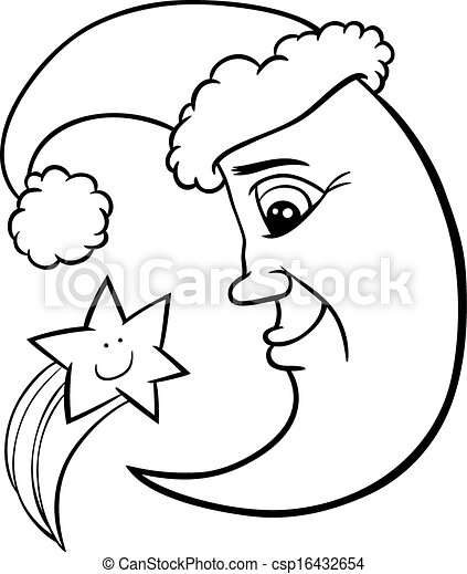 moon and star christmas coloring page csp16432654