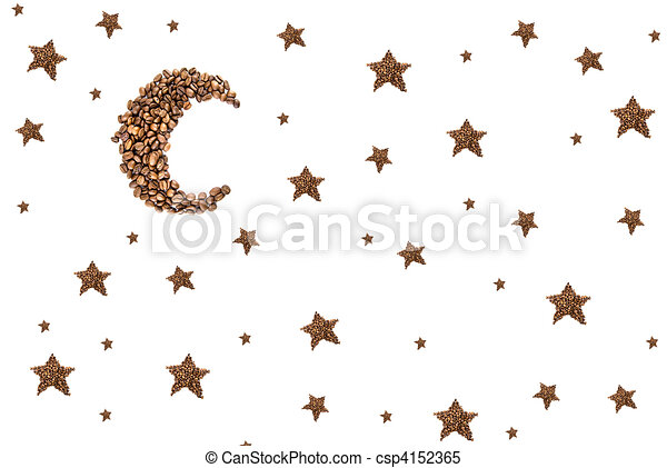 Moon and stars from coffee beans isolated on white - csp4152365