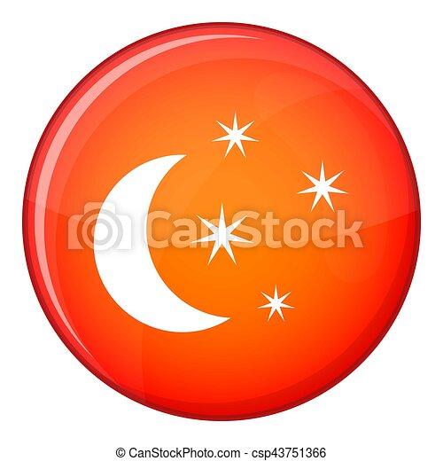 Moon and stars icon, flat style - csp43751366