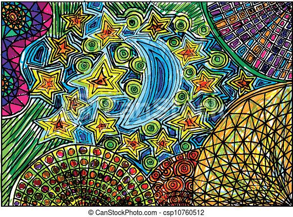Line Art Vector Illustrator : Moon and stars sketch vector illustration clip art