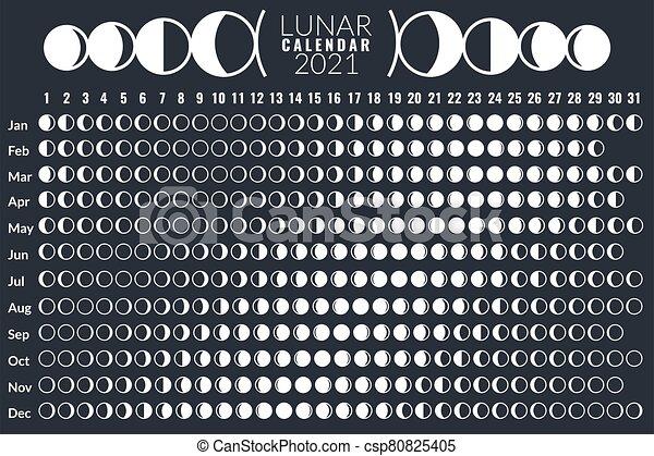 Astrological Moon Calendar 2022.Moon Calendar Lunar Phases Calendar 2021 Poster Design Monthly Cycle Planner Astrology Moon Card Astronomy Grid Diary Canstock