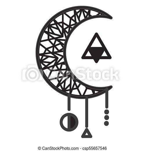Moon Circle Triangle Tattoo Design Vector Image