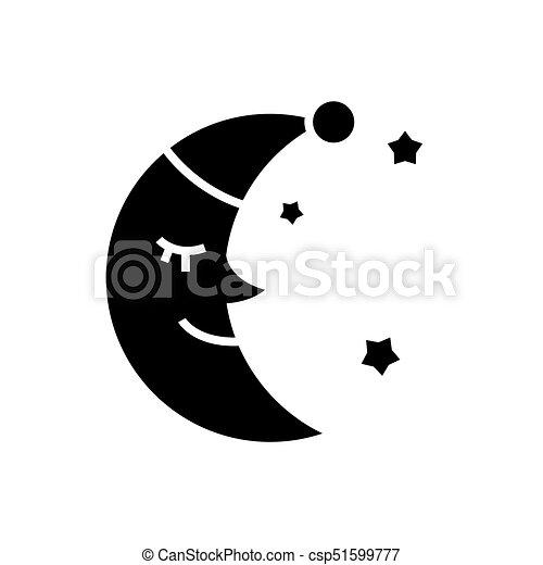 Moon Face Sleep Icon Vector Illustration Black Sign On Isolated Background
