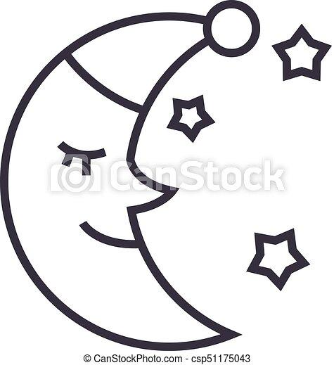 Moon Face Sleep Time Vector Line Icon Sign Illustration On Background Editable Strokes