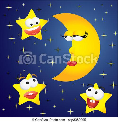 Moon-girl and stars-boys, vector illustration - csp3389995