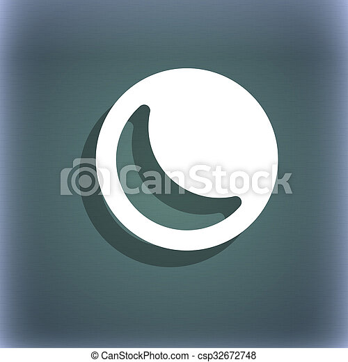 Moon Icon Symbol On The Blue Green Abstract Background With Stock