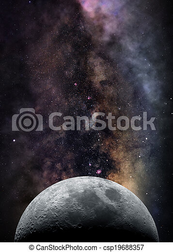 Moon in space - csp19688357