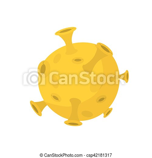 Moon isolated cartoon style. Yellow Planet of solar system on white background - csp42181317