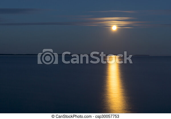 Moon landscape over lake - csp30057753
