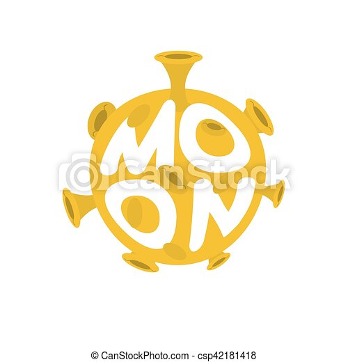 Moon lettering. Yellow Planet of solar system on white background - csp42181418