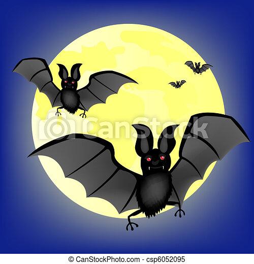Moon night and bat vampire - csp6052095