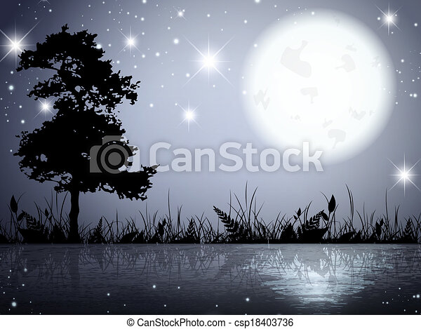 Moon Night Lake - csp18403736