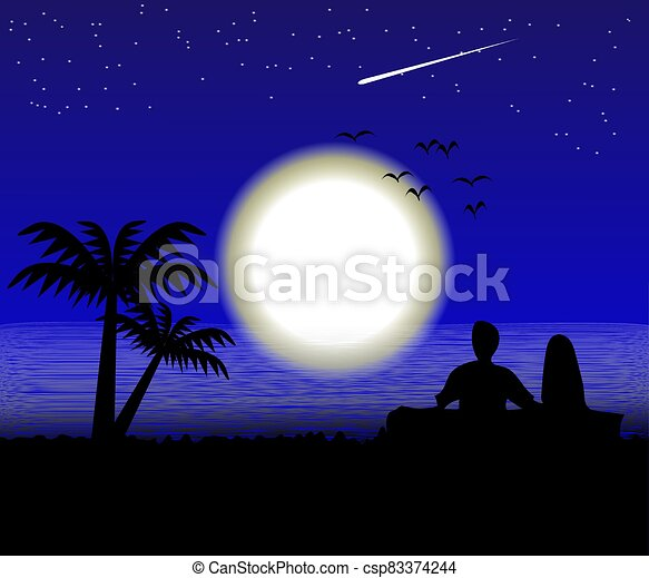 Moon on the Sea landscape view - csp83374244