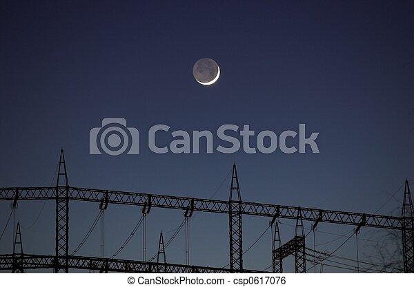Moon over Power Masts - csp0617076