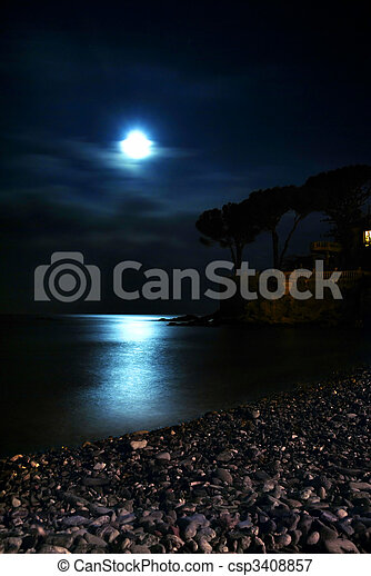 Moon over the sea - csp3408857