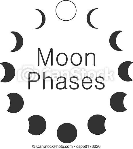 Moon phases, astronomy icon set
