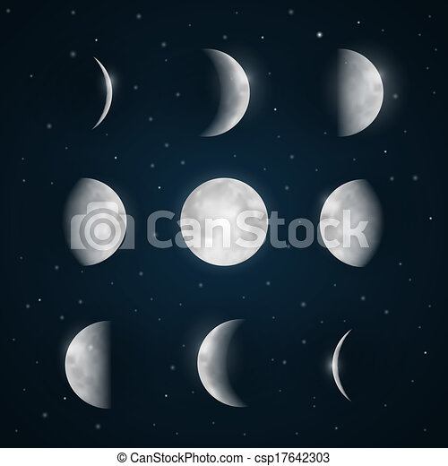 Moon Phases - Night Sky with Stars - csp17642303