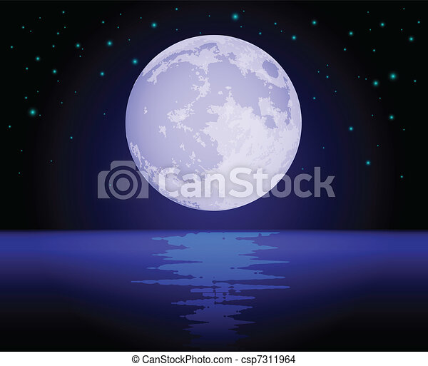 Moon Reflecting Over the Ocean - csp7311964