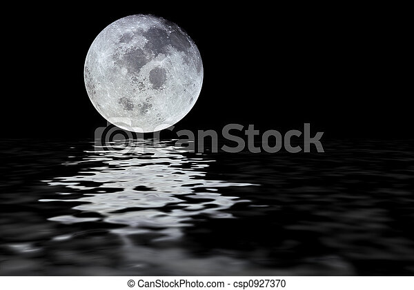 moon reflection. moon with water reflection isolated over