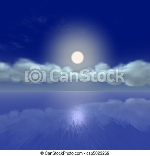 Moon rise by the ocean - csp5023269