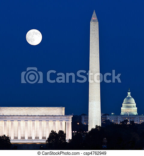Moon rising in Washington DC - csp4762949