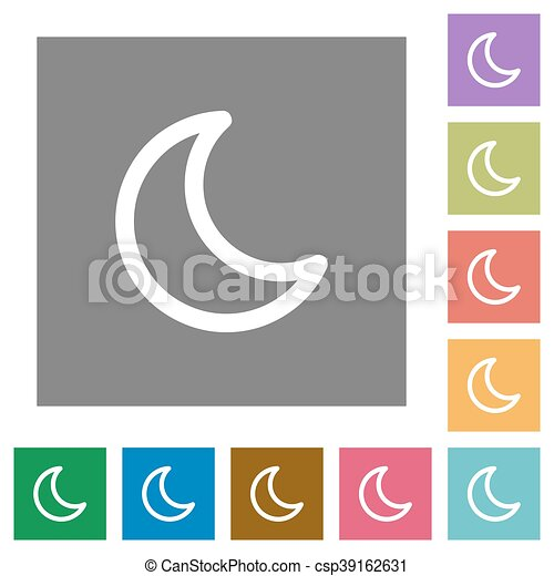 Moon shape square flat icons - csp39162631
