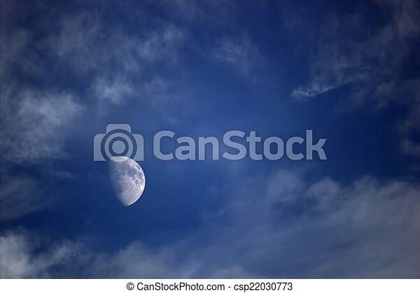 Moon With Clouds - csp22030773
