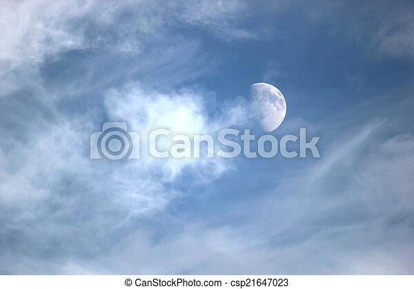 Moon With Clouds - csp21647023