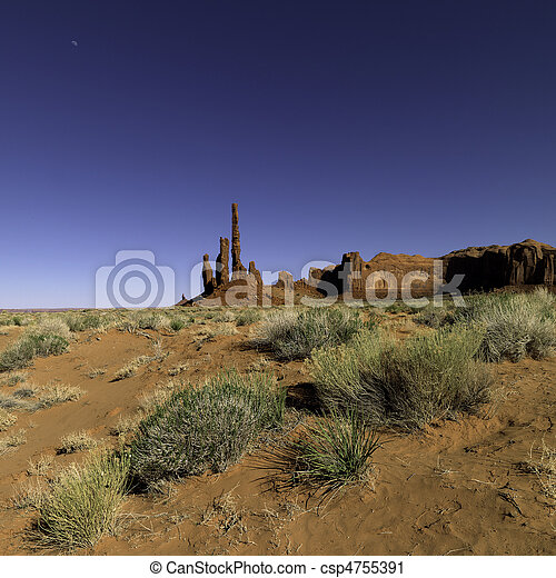 Moon with Totem Pole Rock - csp4755391