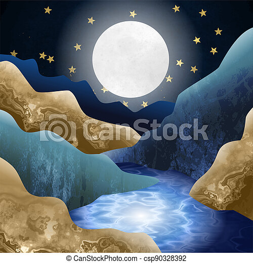 Moonlight Mountain Valley Stream - csp90328392
