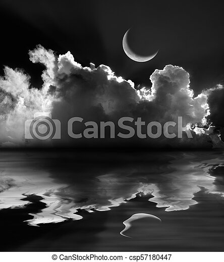 Moonlit fluffy clouds and crescent moon reflection - csp57180447