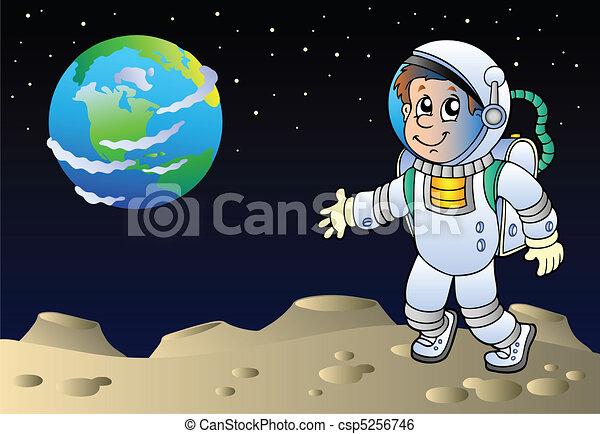 Moonscape con astronauta de caricatura - csp5256746
