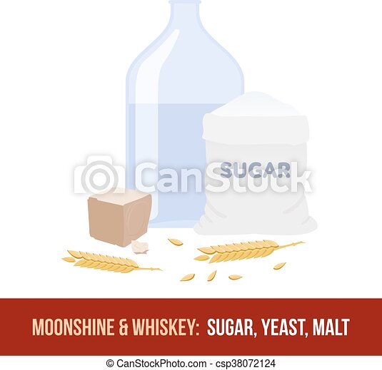 Moonshine and whiskey. Ingredients for fermentation - csp38072124