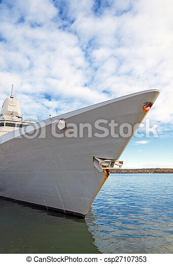 Moored battle ship with radar. - csp27107353