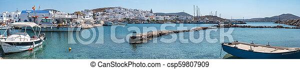 moored, haven, panorama, mykonos, bootjes, aanzicht - csp59807909