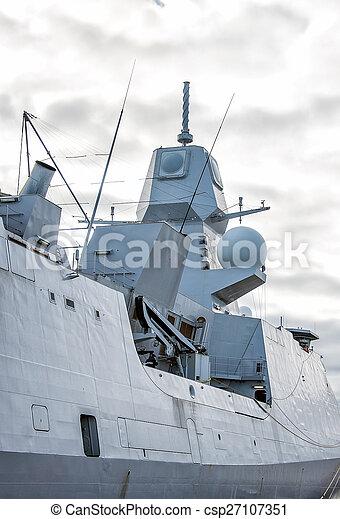 Moored naval ship with radar. - csp27107351